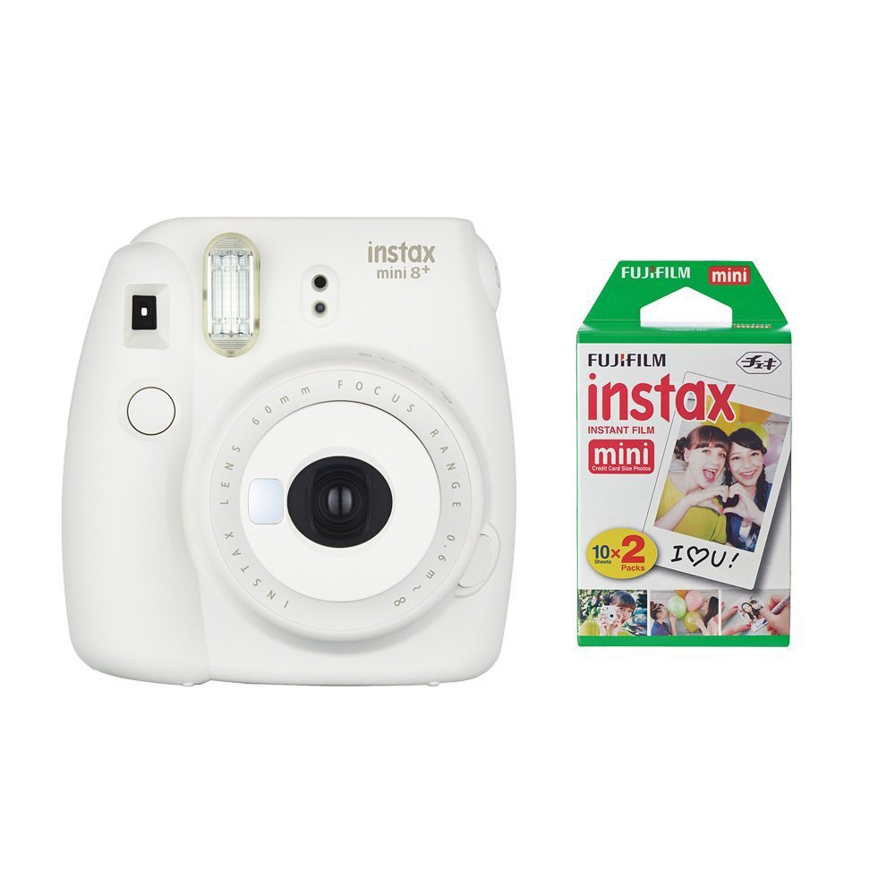 Fujifilm Instax Mini 8+ Instant Film Camera (Vanilla) with Instant Film, 2 x 10 Shoots (Total 20 Shoots) + Colorful Photo Frame Stickers 20 pcs.