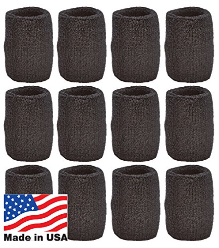Unique Sports Wristbands/Sweatbands Pack of 12 (6 Pair) Black (The Best Drumline Ever)