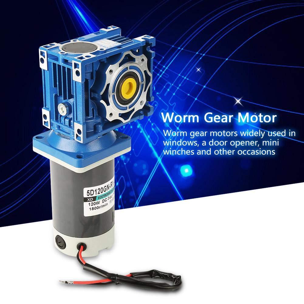 DC Motor 100K DC24V 120W 5D120GN-RV40 Worm Gear Motor Speed Adjustable with Self-Locking