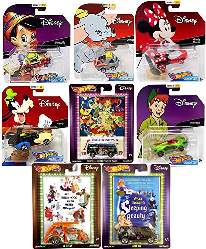 - Hot Wheels Fun Series Disney Magical Friends Cartoon Character Cars Bundled with Peter Pan / Goofy & Dumbo Flying Elephant + Minnie Mouse Racer - Pinocchio + Pop Culture Alice Sleeping Beauty 8 Items