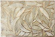Lugar Americano De Plástico Leaf Dourado 30x45cm Lyor Dourado No Voltagev