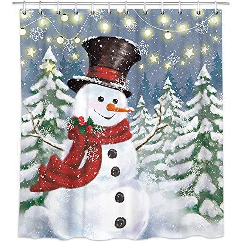 Bonsai Tree Snowman Shower Curtain, Waterproof Christmas Bathroom Curtains, Snowflake Christmas Trees Fabric Shower Curtains Hooks for Bathroom Decorations, 72