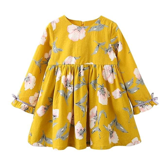 Ropa para niños, FeiXiang♈Ropa para niños Chicas 2018 Primavera y verano los últimos modelos Bowknot Mangas largas Floral Vestido Vestido de princesa ...