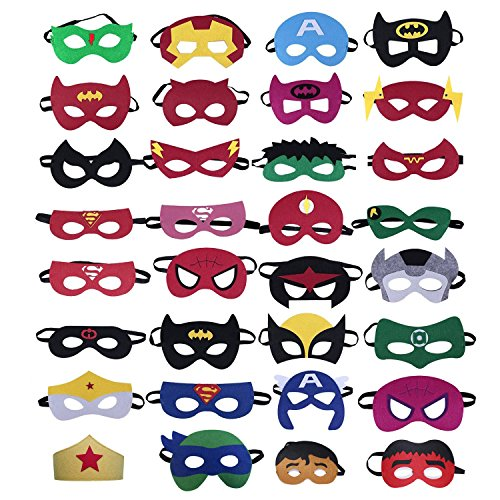 Dmenat 32 Pieces Superhero Mask Party Masks Birthday Party Favors -