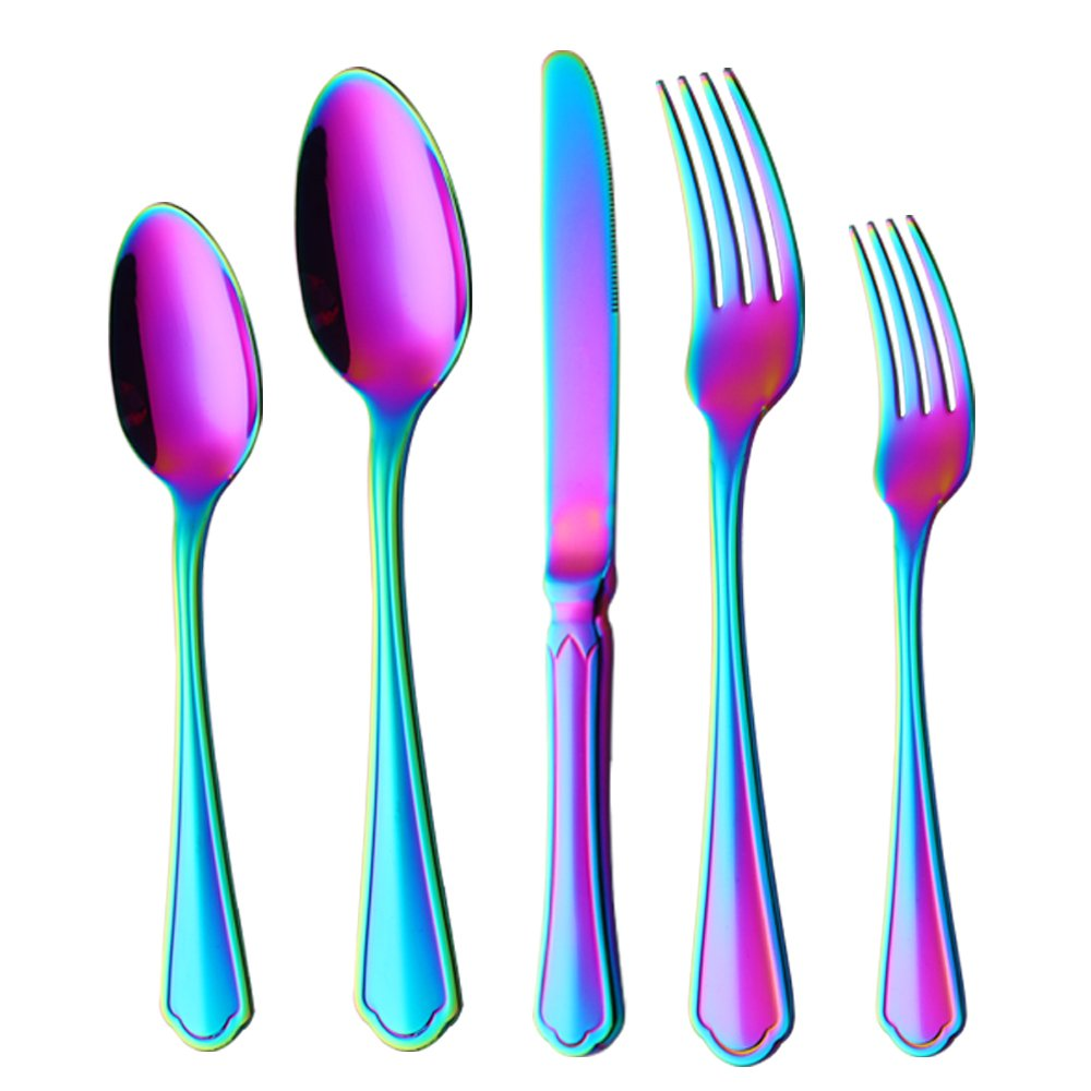 Buyer Star Silverware Set 5-Pieces Flatware Set, Rainbow Silverware Stainless Steel Reusable Wedding Dinnerware Cutlery Set