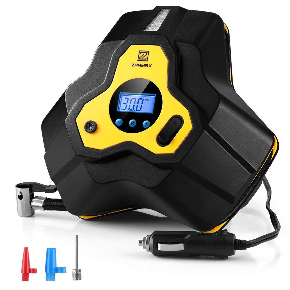 Z ZANMAX Bomba portátil del compresor de Aire, con la luz del LED para el neumático de los Coches, de la Bicicleta.