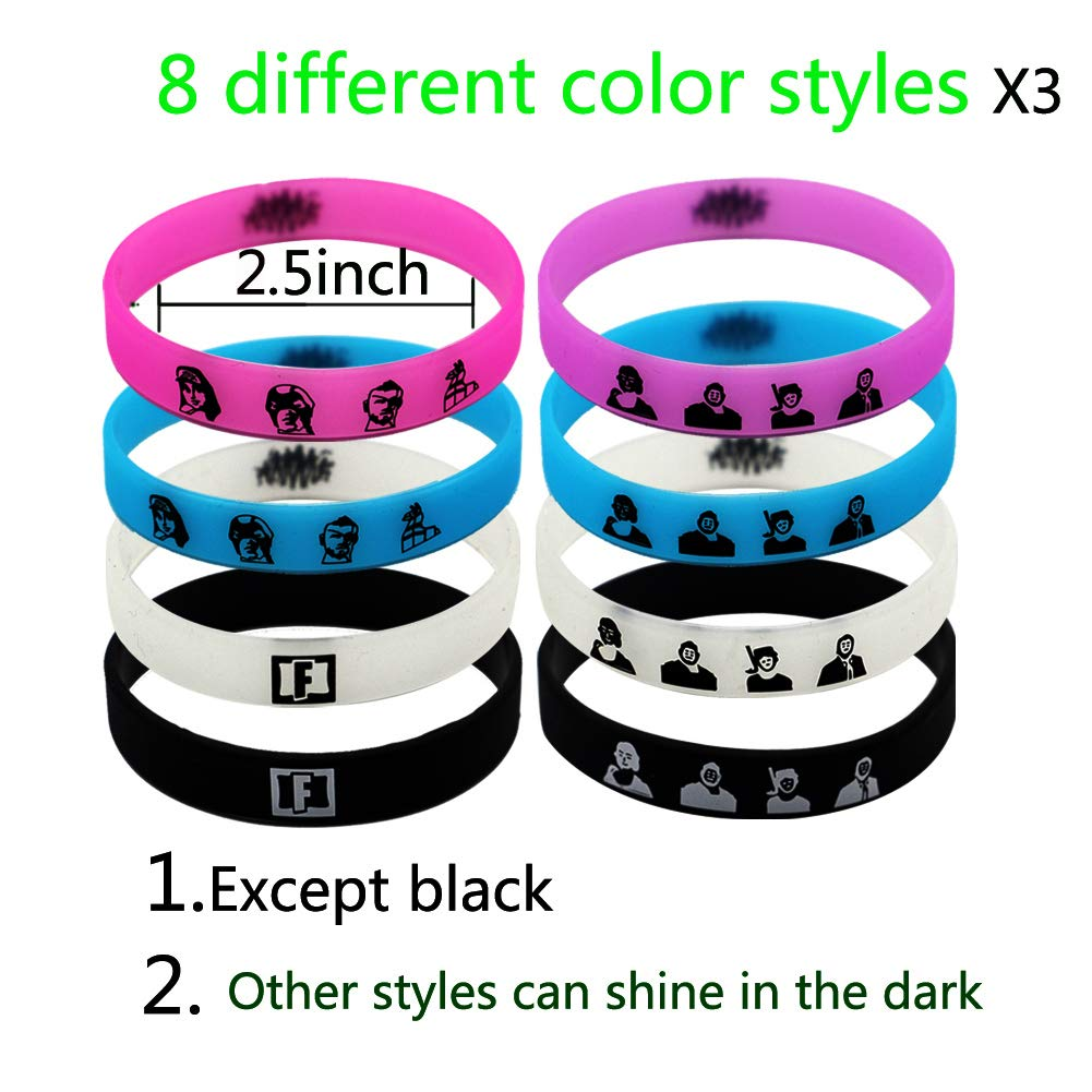 24 packs Glamorous Glowing Game Bracelet Wristband Video Game Theme Bracelet 7.9inch Suitable for Children Birthday Party