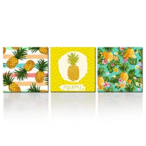 Kreative Arts - 3 Pieces Hawaii Pineapple Tropical Fruit Wall Art Decor Abstract Art Home Canvas Prints Baby Gift Wall Hanging Decorations for Living Room Bedroom (12x12inchx3pcs)
