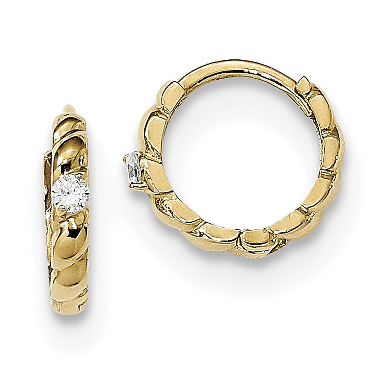 14K oro amarillo Madi K CZ Fancy con bisagras pendientes de aro trenzado se2580