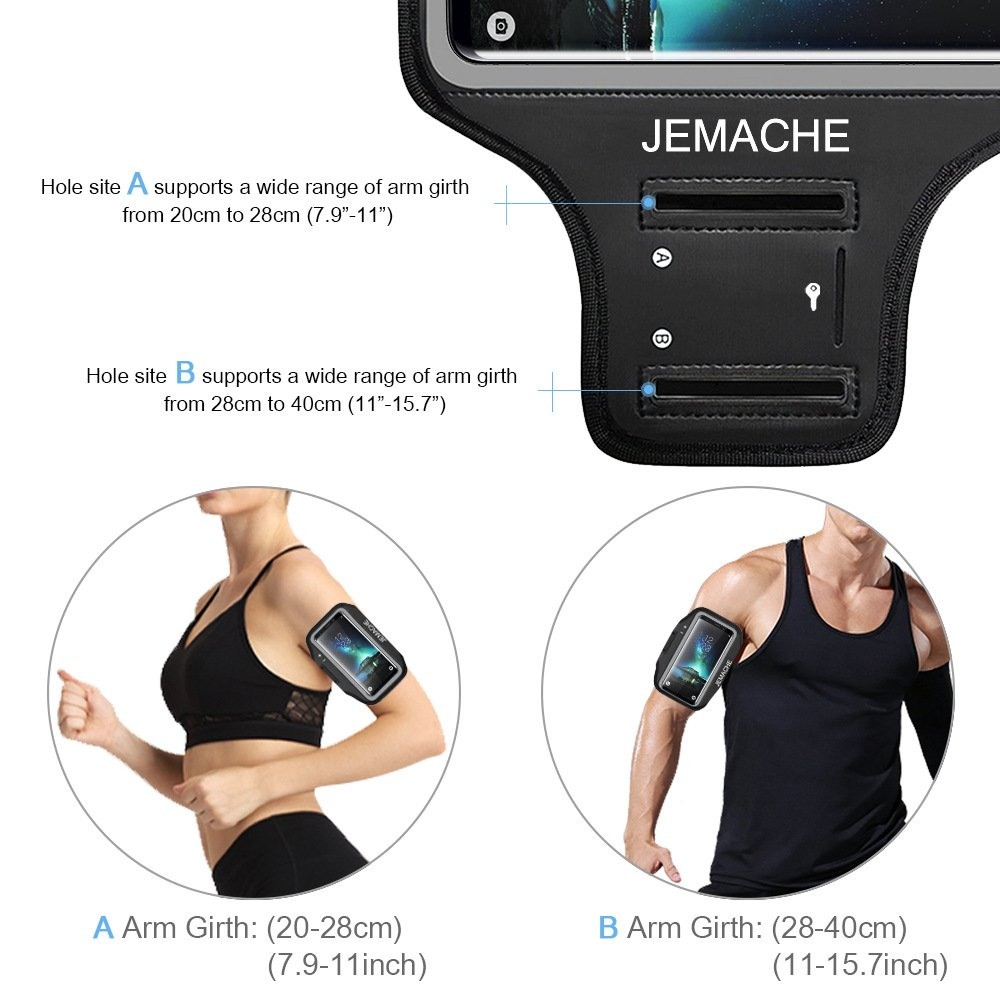 Galaxy S10/S9/S8 Armband, JEMACHE Gym Run/Jog/Exercise Workout Arm Band for Samsung Galaxy S10/S9/S8/S7 Edge with Key/Card Holder (Black) by JEMACHE (Image #5)
