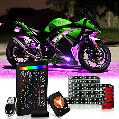 SCREAMFOX 8Pcs Motorcycle LED Light Kit Strips Multi-Color Accent Glow Neon RGB Atmosphere Brake Warning Function Lights w/two Wireless Remote w/Switch for Harley Davidson Honda Kawasaki Suzuki BMW ()