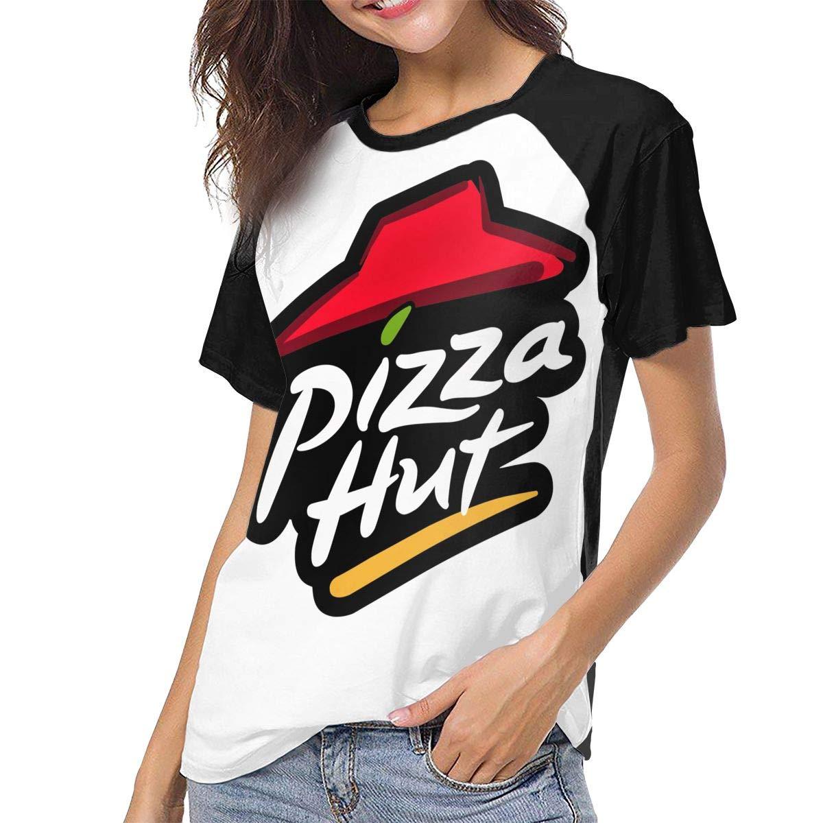 Women's Pizza Hut Logo Basic Shirts Summer T Shirt Short Sleeve T-Shirt Round Neck Cotton Sport Tops Black 29