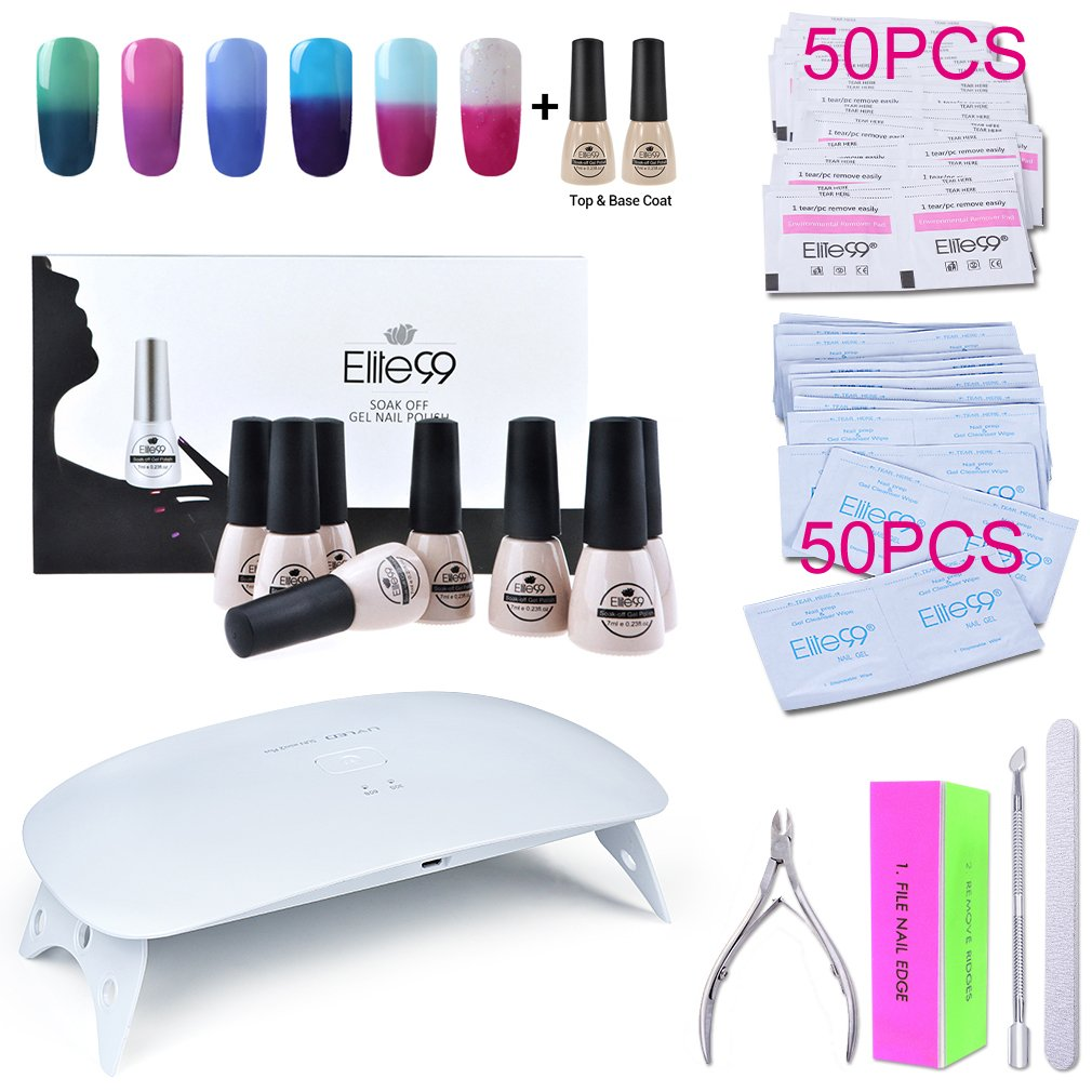 Elite99 Soak Off Temperature Color Changing Gel Nail Polish Kit with Top Base Coat + SUNmini2 Plus UV LED Nail Lamp + Gel Remover Wraps & Cleanser Pads + 4PCS Nail Art Tools Set C016 by Elite99
