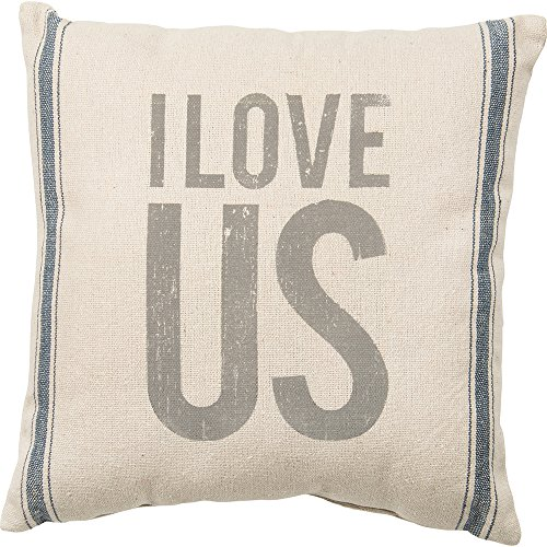Primitives by Kathy Vintage Flour Sack Style I Love Us Throw Pillow, 15-Inch Square by Primitives by Kathy