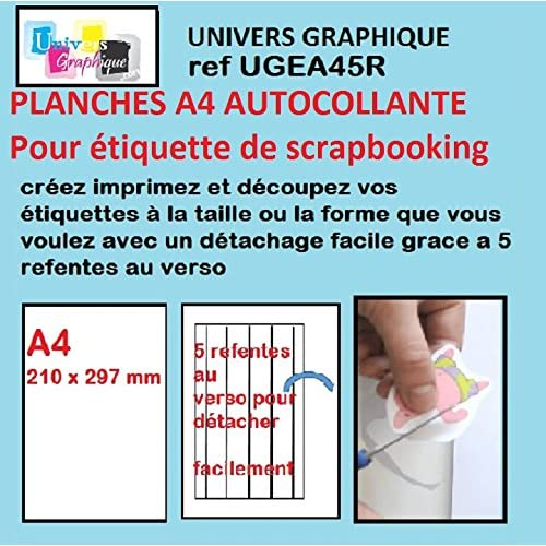 100 Papier adhésif blanc A4 autocollant pour imprimante pour étiquette SCRAPBOOKING SPÉCIAL DÉCOUPE : une feuille adhésive pour créer et imprimer vos propres étiquettes et les