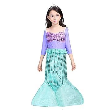 Vestido sirena niña disfraz otoñal de Princesa Manga Larga 100/1 ...