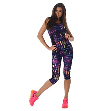 a2e5599481 Womens Sport-Set Sports Suit Top (Shoulder-free) and Capri Leggings (3/4  length) with Mesh Sport-Top Tank-Top Leggings Running Shorts different  Colors ...