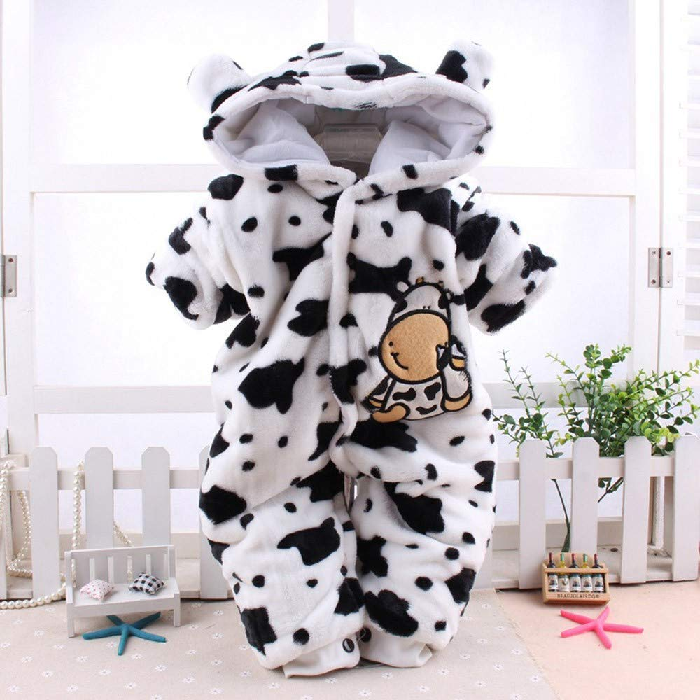 Staron  Newborn Hoodie Rompers Baby Boy Girl Cute Cow Velvet Hooded Jumpsuit Bodysuit