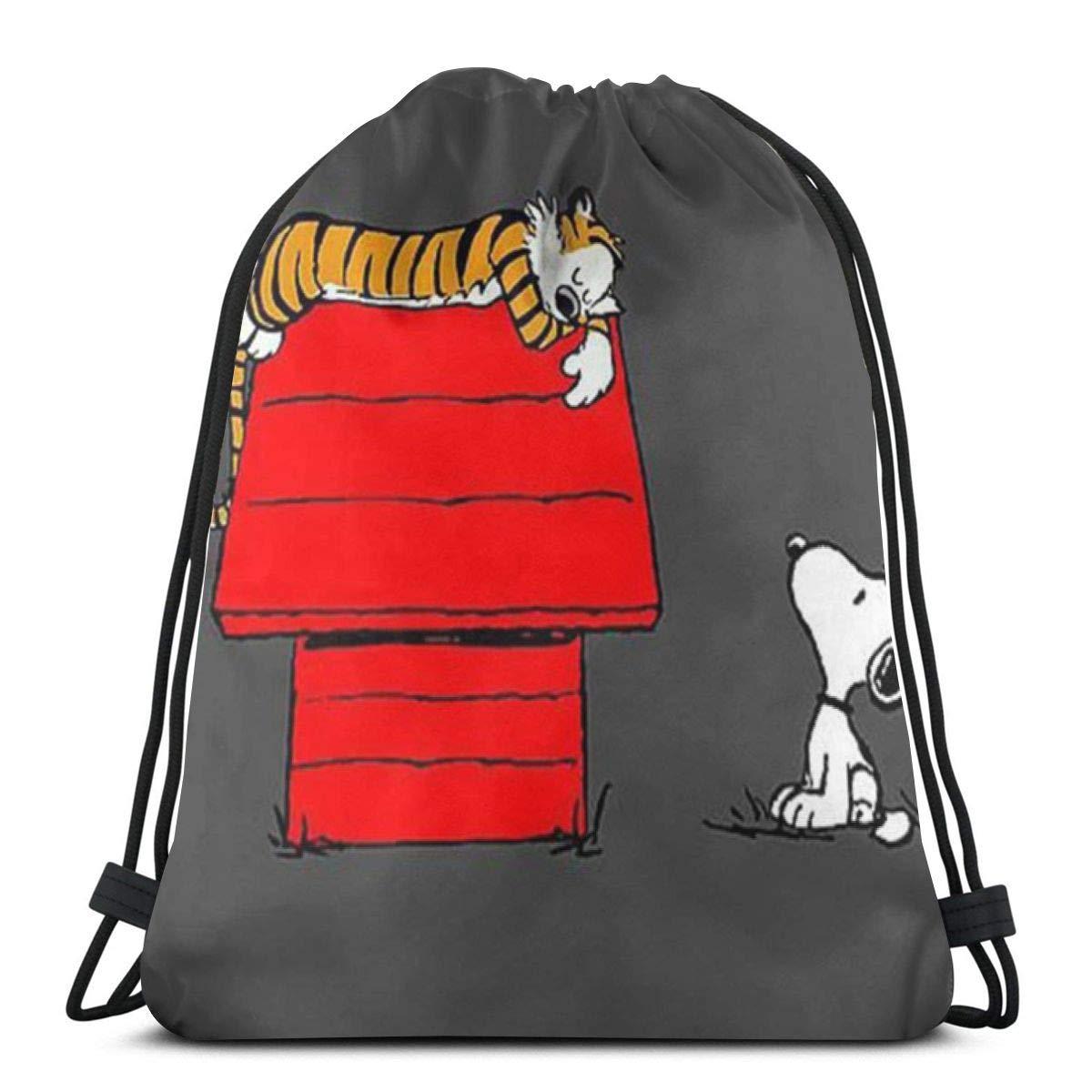 MPJTJGWZ クラシック巾着バッグ スヌーピーホームジムバックパック ショルダーバッグ スポーツ収納バッグ 男女兼用 B07SCY334R