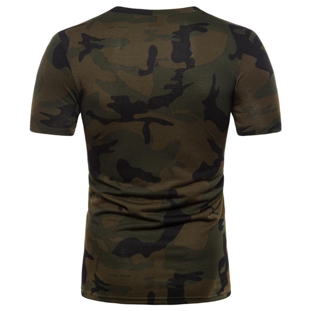 Camiseta para Hombre,Camiseta de Manga Corta con Cuello en V de Manga Corta con Estampado de Camuflaje Casual para Hombre: Amazon.es: Ropa y accesorios