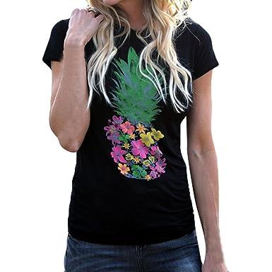 46d27bd839a Wolfleague T-Shirt Femme Chic Manches Courtes D éTé Mode Cactus Imprimer O  Cou
