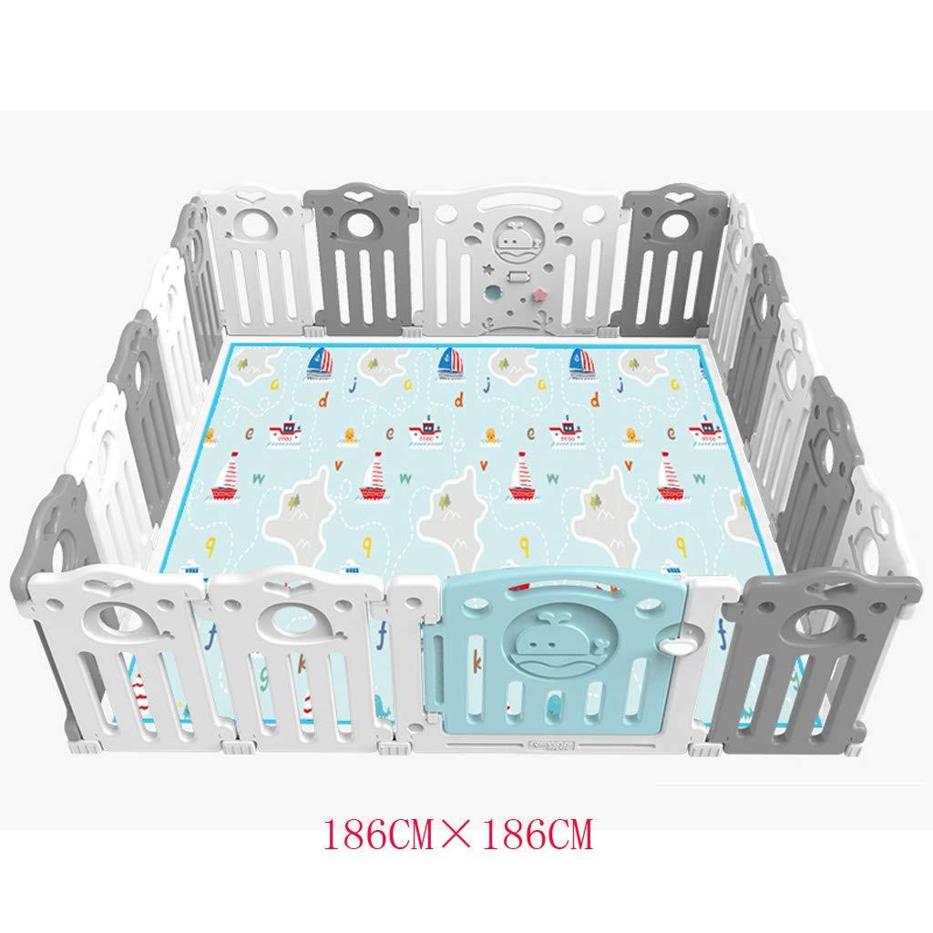 子供の遊びのフェンス屋内の赤ちゃんのフェンスのフェンスの赤ちゃんのクロールマットホーム安全な遊び場幼児の人工物 QYSZYG (Size : 186CM×186CM) 186CM×186CM  B07T1MZQ2X