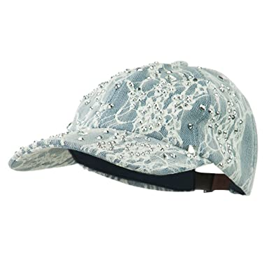 SS Hat Rhinestone and Lace Baseball Cap - Denim OSFM at Amazon ... 3b66fac10ea