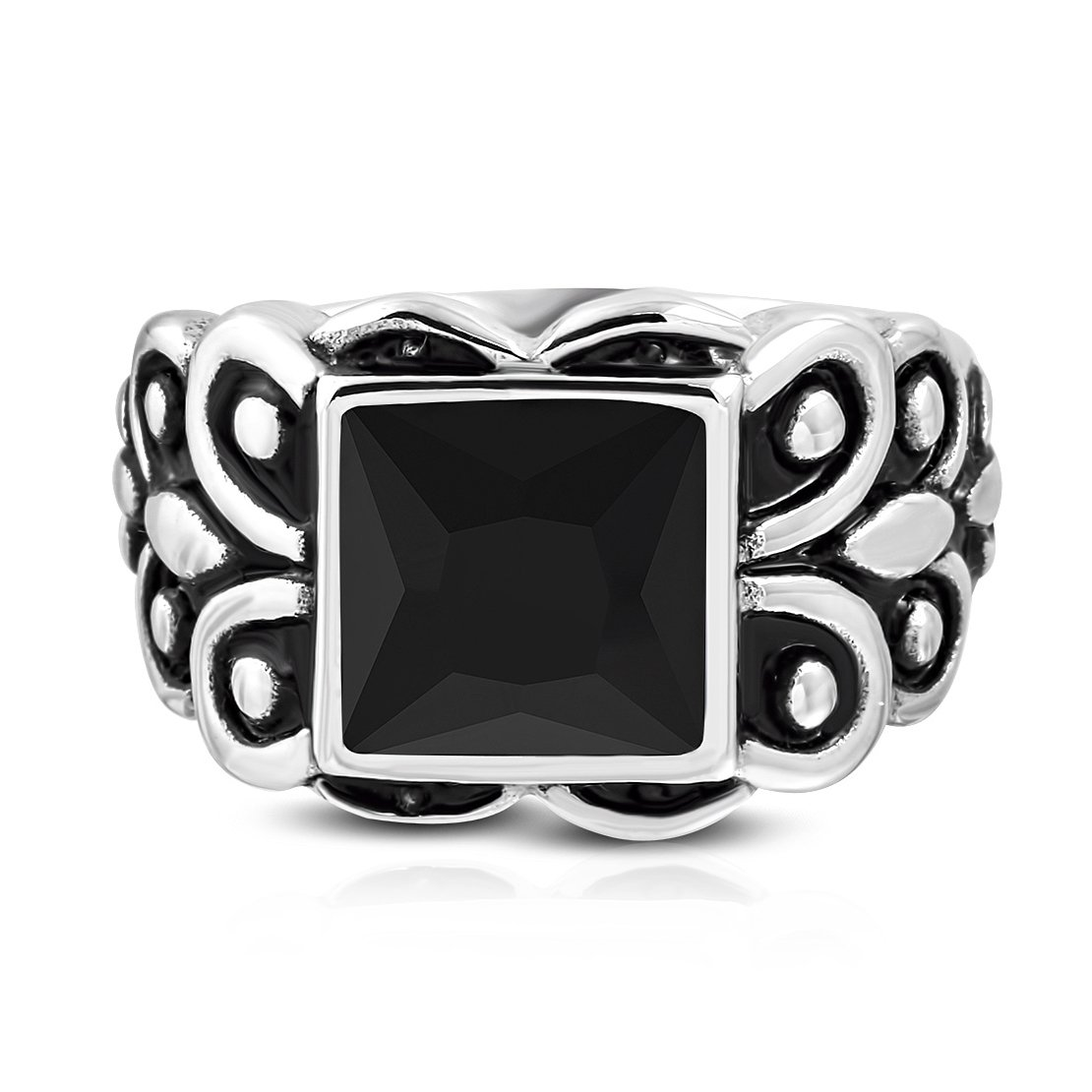 Stainless Steel 2 Color Fleur De Lis Flower Shank Bezel-set Cushion Biker Ring with Black Glass Stone by NRG Rings
