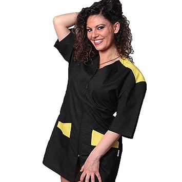 Bata, uniforme de esteticista, masaje, trabajo en centros de Belleza y Salud, amarillo, M: Amazon.es: Hogar