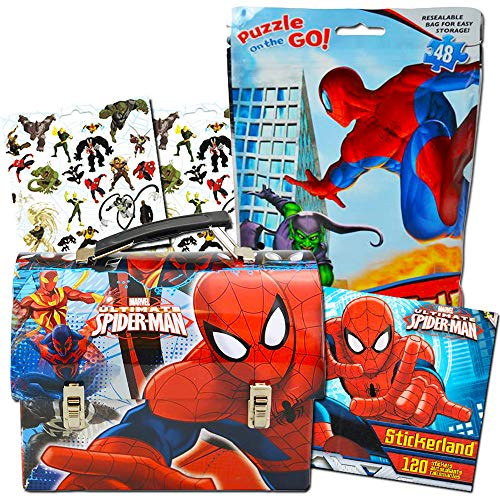 Marvel Spiderman Lunch Box Activity Set -- Deluxe Spider-Man Tin Lunchbox with Puzzle and 120 Stickers (Spiderman School/Party Supplies) by Marvel