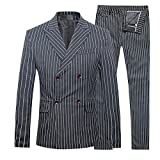 Product review for Cloudstyle Mens 3 Piece Suits Pinstripe Double Breasted Slim Fit Formal Wedding Suits