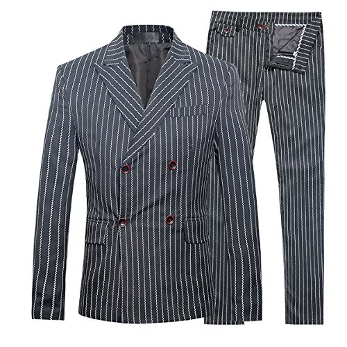 Mens 3 Piece Suits Pinstripe Double Breasted Slim Fit Formal Wedding Suits,Black,Medium