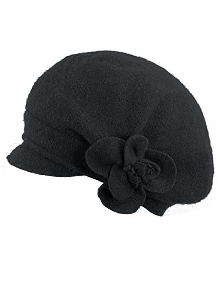 Dahlia Women s Reversible Wool Beret Hat - Flower Accented - Black 8cc85d9f527f