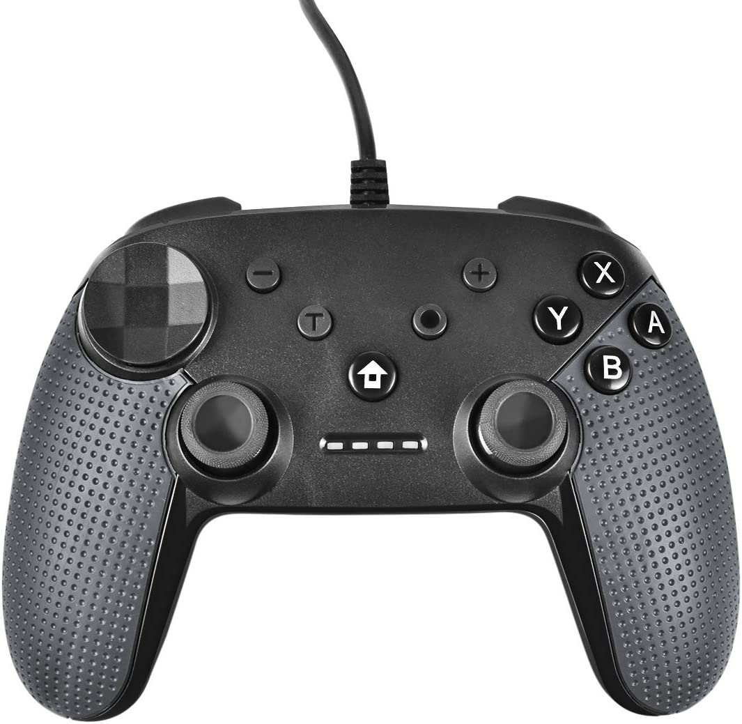 Powtree USB Wired Pro Controller for Nintendo Switch Gyro Axis Motion Controls Vibration Sense Gamepad Compatible with PS3 Windows(10/8.1/8/ 7 / XP) PC(Xinput and Dinput) Android-(Dark Grey)