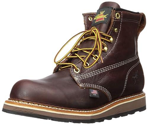 Thorogood Mens 6 Plain Toe Wedge 814-4516 Black Walnut Leather Boots 41
