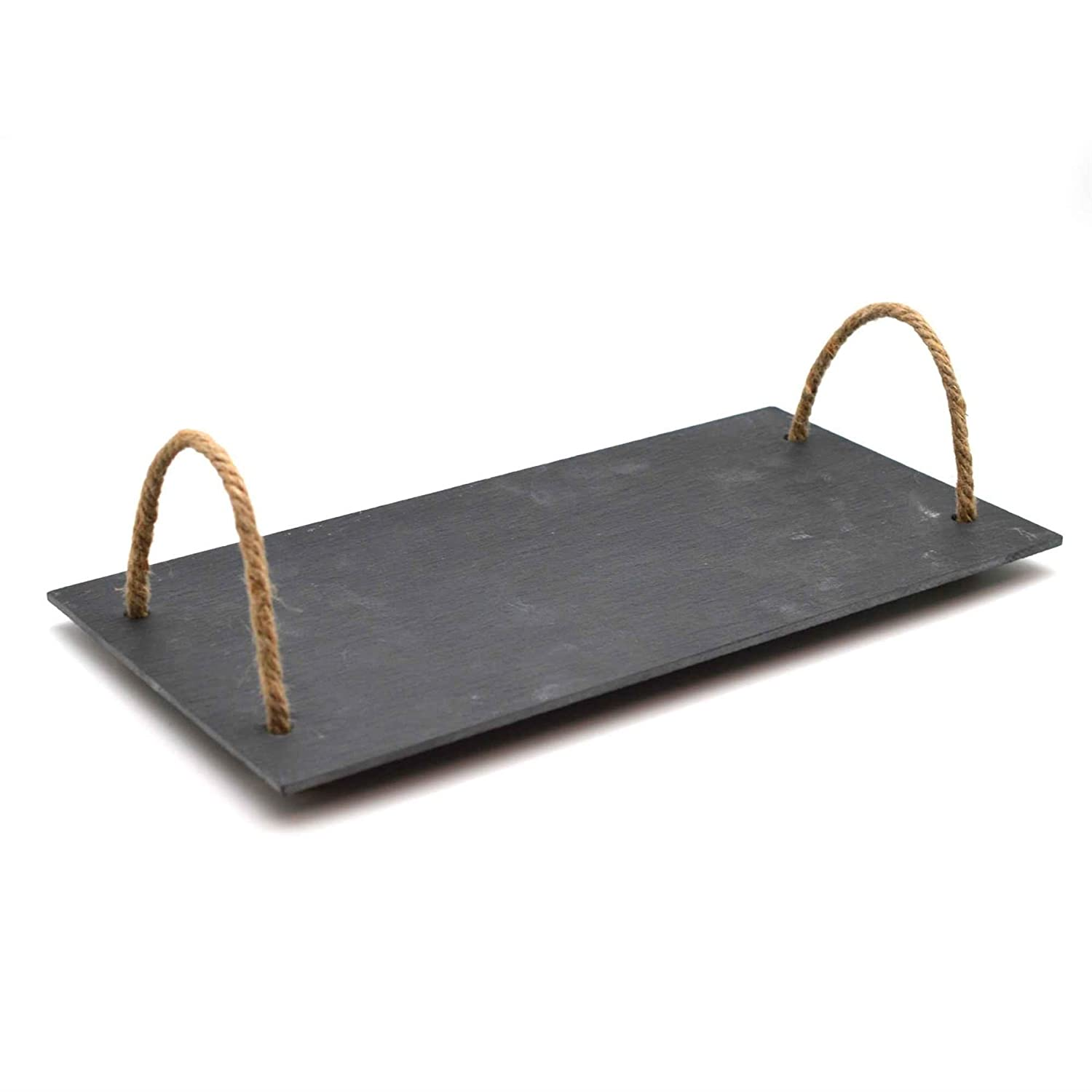 Slate Food Serving / Party Tray With Vintage Rope Handles Argon Tableware