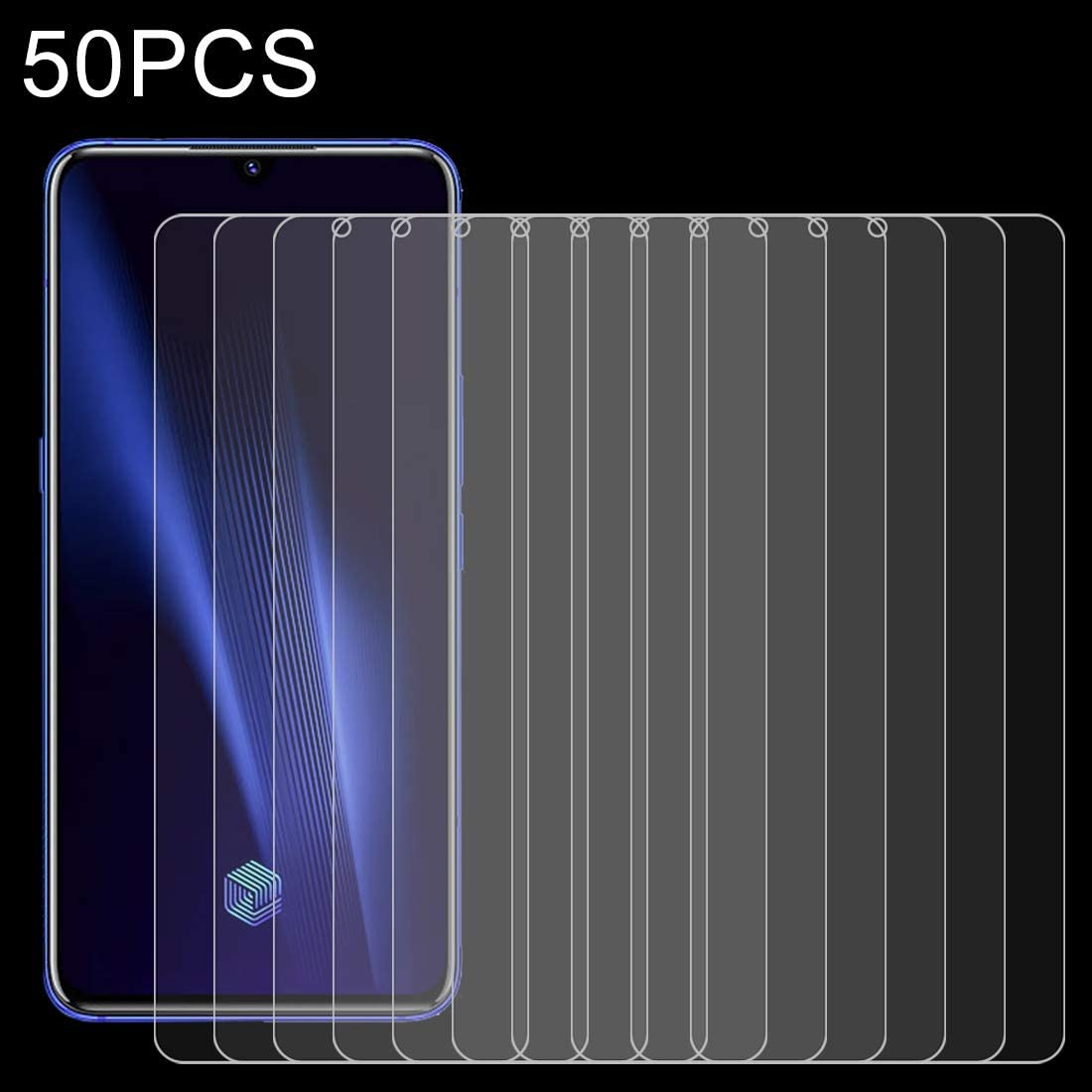 GzPuluz Glass Protector Film for Vivo iQOO Pro 50 PCS 0.26mm 9H 2.5D Tempered Glass Film