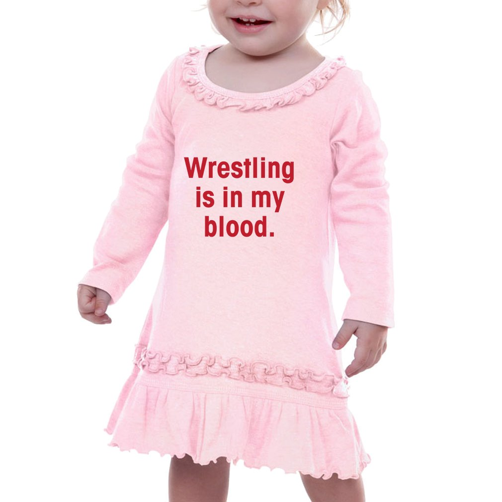 Wrestling Is In My Blood Infants Sunflower Long Sleeve Dress Soft Pink 6 Months