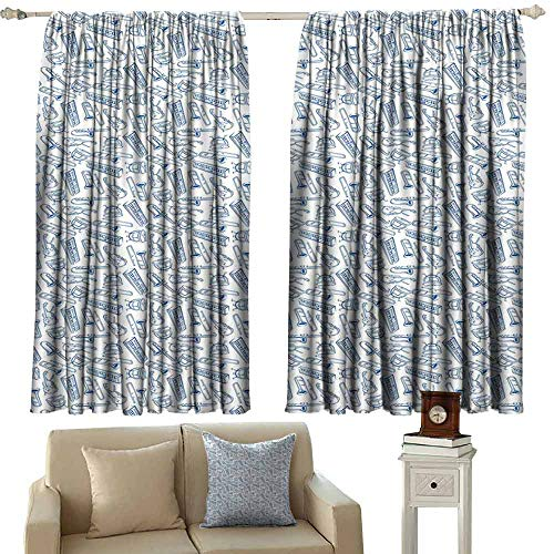 DUCKIL Printed Curtain Jazz Music Pattern of Blue Sketchy Saxophones Trombones Timpani Drums Cellos Synthesizers Blackout Draperies for Bedroom Living Room W63 xL63 Blue - Timpani Extended