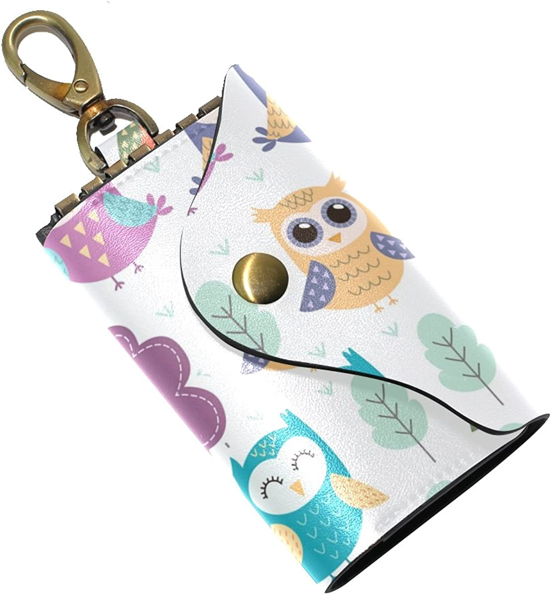 KEAKIA Owls Pattern Leather Key Case Wallets Tri-fold Key Holder Keychains with 6 Hooks 2 Slot Snap Closure for Men Women