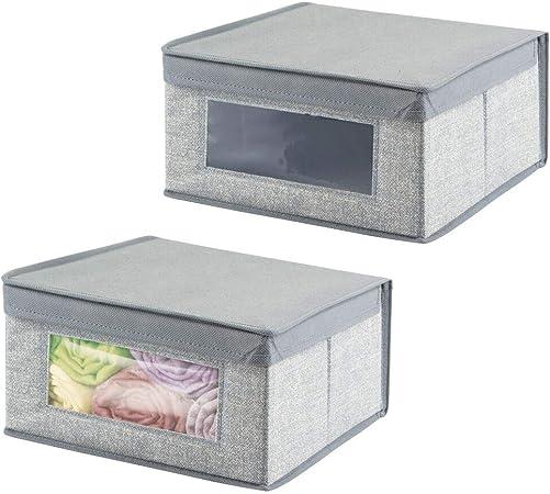 mDesign Juego de 2 cajas de tela apilables con ventana ...