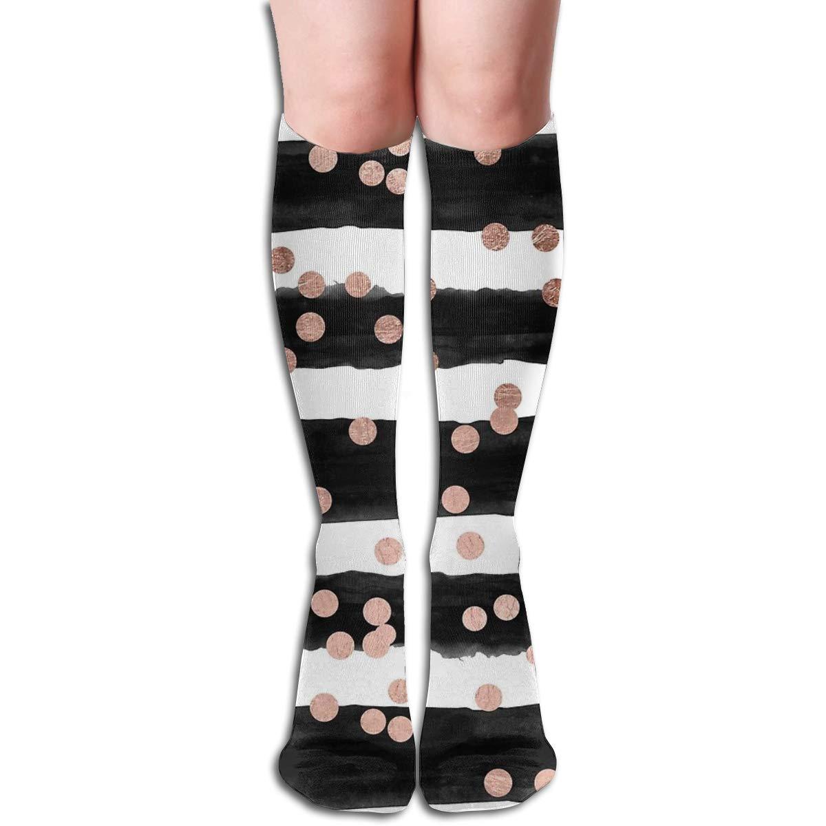 Girly Rose Gold Confetti Black Watercolor StripesFashion Athletic Socks Knee High Socks For Men/&Women All Sport Holiday