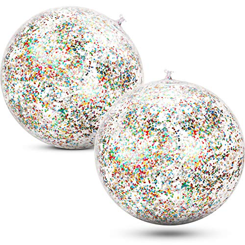 Gejoy 2 Pieces Inflatable Glitter Beach Ball Confetti Beach Balls Transparent Swimming Pool Party Ball for Summer Beach Water Play Toy, Pool and Party Favor, 16 Inch (Multicolor)