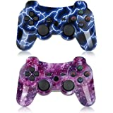 Bowei PS3 Controller Wireless 2 Pack Double Shock Gamepad for Playstation 3 Remotes, Six-Axis Wireless PS3 Controller with Ch