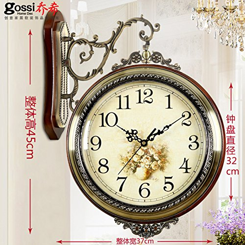 Stylish, Silent wallAmerican Solid Wood Metal Double-Sided Wall Clock Living Room Table Mute Clock Creative Clock Modern Clock European Style Watch, 20 inches (Diameter 50.5 cm), Extra Large 15004A ()
