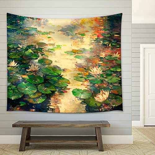 The Oil Painting of Lotus Pool Fabric Wall