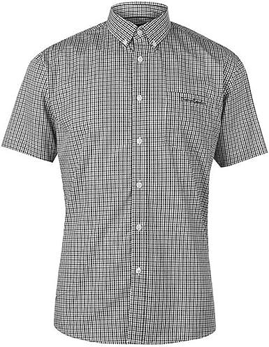 Pierre Cardin Hombre Camisa EN Cuadros de Manga Corta con Bordado de Firma: Amazon.es: Ropa y accesorios