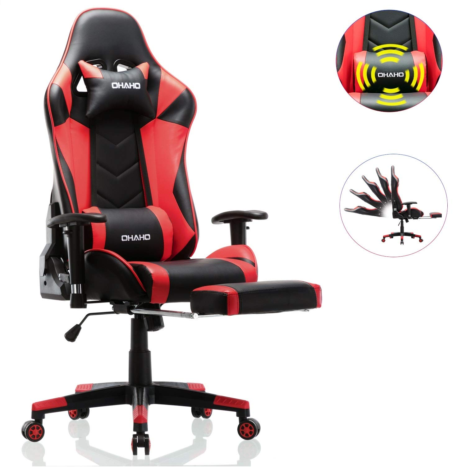 OHAHO Gaming Chair Racing Style Office Chair Adjustable Massage Lumbar Cushion Swivel Rocker Recliner Leather High Back Ergonomic Computer Desk Chair with Retractable Arms and Footrest (Black/Red) by OHAHO