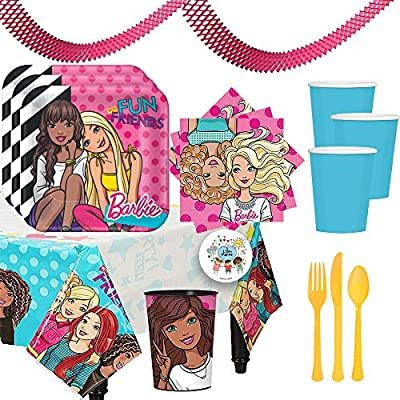 Fun Barbie and Friends Birthday Party Supplies Pack For 16 Guests With Plates, Beverage Napkins, Tablecover, Cups,Cutlery, 1 Favor Cup, Garland, and Exclusive Pin