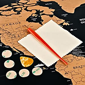 Scratch Off World Map Poster, US States, Country Flags, Detailed Cartography, in Tube, Premium Quality, Perfect Gift